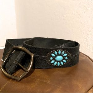 Italian Leather and Turquoise belt